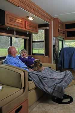 Couple in Camper with Dog