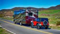 Motorhome Flat Towing a Car